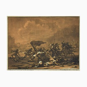 Battle Scene - Original Etching by Johan Christian Rugendas - 18th Century 18th Century
