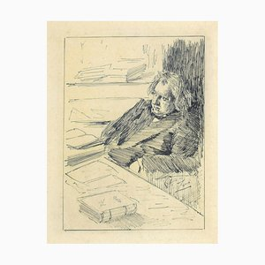 Portrait - Drawing in Pen on Paper by Anders Leonard Zorn - 19th Century 19th Century