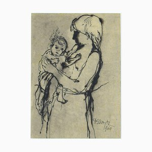 Mother and Child - Drawing in Pen and Watercolor by Francesco Delli Santi - 1966 1966