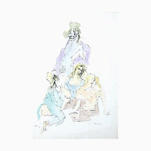 Allegorical Figures - Hand-colore Etching on Paper by Leonor Fini - 20th Century 20th Century