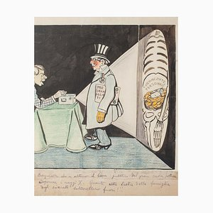 Political Radiography- China Ink and Pastel by G. Scalarini - Early 20th Century Early 20th Century