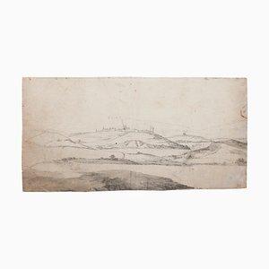 Paysage - Encre et Aquarelle Originales par Verdussen - Milieu 18ème Siècle, 18ème Siècle