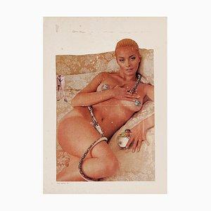 Akt und Schlange - Original Collage und Tempera von Sergio Barletta - 1975 1975