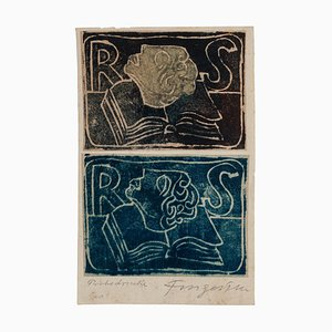 Ex Libris - Original Woodcut by M. Fingesten - Early 1900 Early 1900