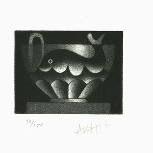 Whale in Cup - Original Etching on Paper by Mario Avati - 1970s 1970s