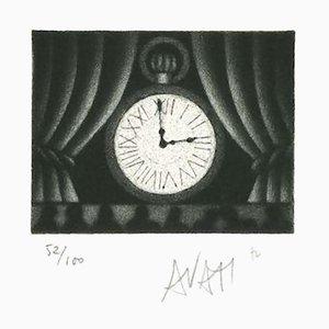 Clock - Original Etching on Paper by Mario Avati - 1970s 1970s