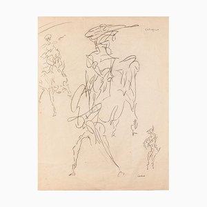 Studie der Figur - Original Stift auf Papier von Louis Durand - 20th Century 20th Century