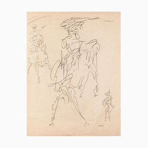 Study of Figure - Original Pen on Paper by Louis Durand - 20th Century 20th Century