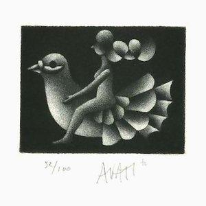 Bird Rider - Original Radierung auf Papier von Mario Avati - 1970s 1970s