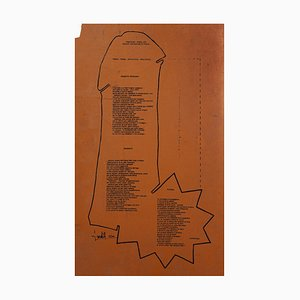 Lyric Composition - Original Screen Print on Linoleum by L. Luoratoll - 1974 1974
