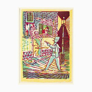Lion Den - Original Woodcut Print by Mino Maccari - Mid 20th Century Mid 20th Century
