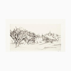 Trees in Grignon - Original Etching on Paper by P. Guastalla - Mid 20th Century Mid 20th Century
