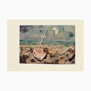 Boat - Original Monotype on Paper by Antonio Camarca - 20th Century 20th Century