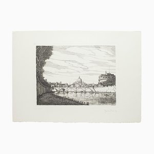 Roman Landscape - Original Etching by Giuseppe Malandrino - 1970s 1970s