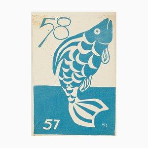 Fish - Original Woodcut on Paper - 1957 1957