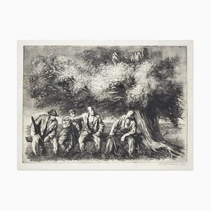 Hunters - Original Etching on Paper by Mario Altobelli - 1940 1940
