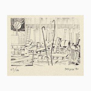 Lithographie Originale sur Papier par Giuseppe Megna - 1980 ca. 1980 env.