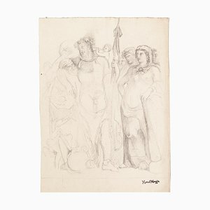Study of Figures - Drawing on Paper by Marcel Mangin - Late 19th Century Late 19th Century