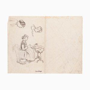 Study of Figures- Originalzeichnung auf Papier von Marcel Mangin - Spätes 19. Jahrhundert, 19. Jh