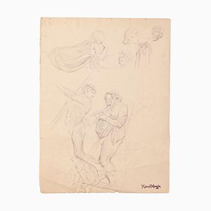 Study of Figures- Original Drawing on Paper by Marcel Mangin - Late 19th Century Late 19th Century