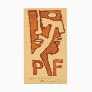 Ex Libris - PF - Original Woodcut by M. Fingesten - Early 1900 Early 1900