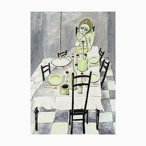 Family on the Table - Original Tempera auf Karton von Fabio Carriba - 1966 1966