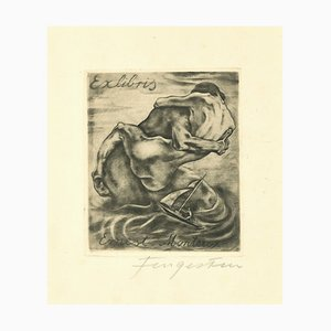 Ex Libris - Mantero - Original Etching by M. Fingesten - 1930s 1930s