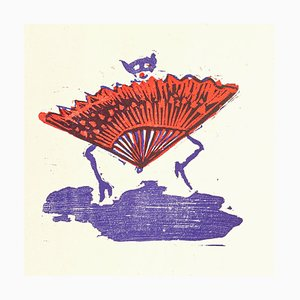 Hand Fan Clown - Original Holzschnitt von Mino Maccari - Mitte des 20. Jahrhunderts Mitte des 20. Jahrhunderts