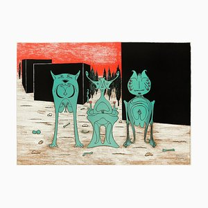 Extraterrestrial Fantasy - Original Lithograph on Paper by Henry Maurice - 1973 1973