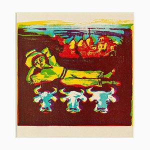 Gravure sur Bois Original Cowboy par Mino Maccari - Milieu 20ème Siècle 20ème Siècle