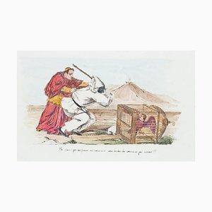Pulcinella - Original Hand-colored Lithograph - 19th Century 19th Century