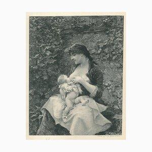 Madre e hijo - aguafuerte original sobre papel de Victor Focillon - siglo 20