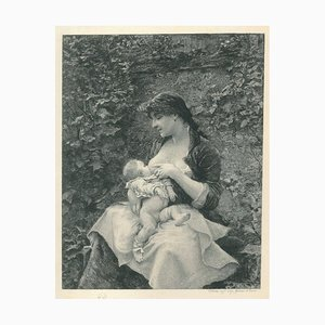 Mother and Child - Original Etching on Paper by Victor Focillon - 20th Century 20th Century