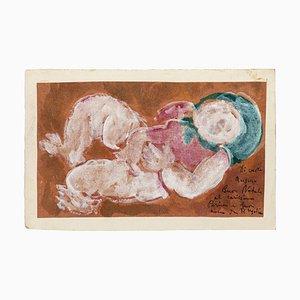 Child - Original Watercolor on Paper by P. Ugolino - 20th Century 20th Century