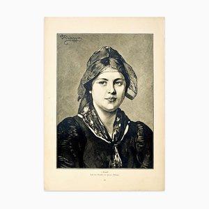Retrato - Grabado Original de F. von Defregger - 1905 1905