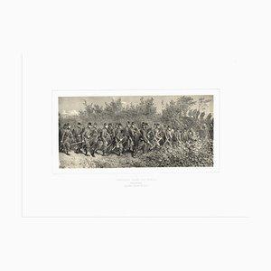Lithographie Originale des Travailleurs par Denis Auguste Marie Raffet - 1854 1854