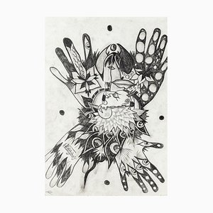 Composition - Original Monotype on Cardboard by Valerio Romagnoli - 20th Century 20th Century