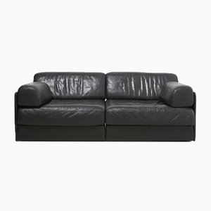DS76 Black Leather Sofa from de Sede, 1970s