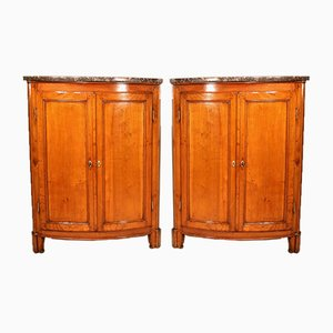 Antique Louis XVI Style Cupboards in Cherry Wood, Set of 2