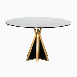 Vintage Smoked Glass and Metal Round Dining Table, 1970s
