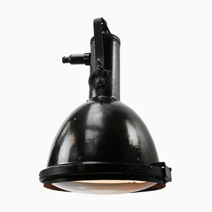 Large Black Enamel Industrial Round Glass Pendant Light