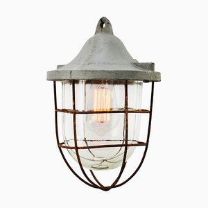 Industrial Gray Metal Clear Glass Hanging Cage Lamp