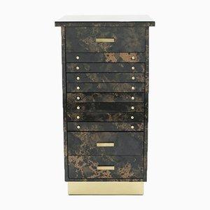 Lacquer & Brass Semainier Cabinet by Guy Lefevre for Ligne Roset, 1970s