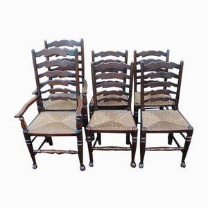 Oak Ladderback Dining Chairs with Rush Seats, 1920s, Set of 6