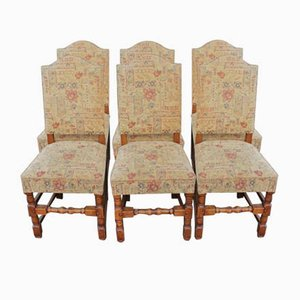 Mahogany & Floral High Back Dining Chairs, 1940s, Set of 6