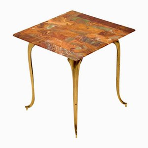 Vintage Brass & Onyx Side Table, 1950s