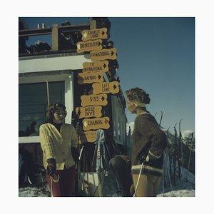 Skiing in Stowe Oversize C Print Framed in Black by Slim Aarons