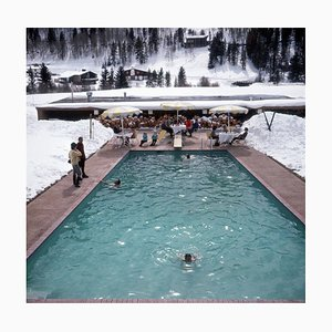 Snow Round the Pool Oversize C Print Framed in White by Slim Aarons