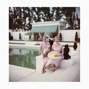 Socialites Oversize C Print Framed in White by Slim Aarons