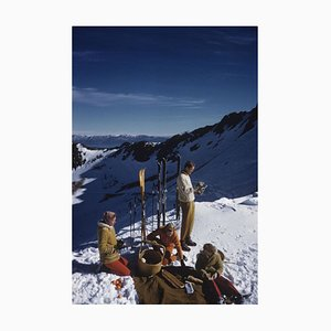 Squaw Valley Picnic Oversize C Print Framed in White by Slim Aarons